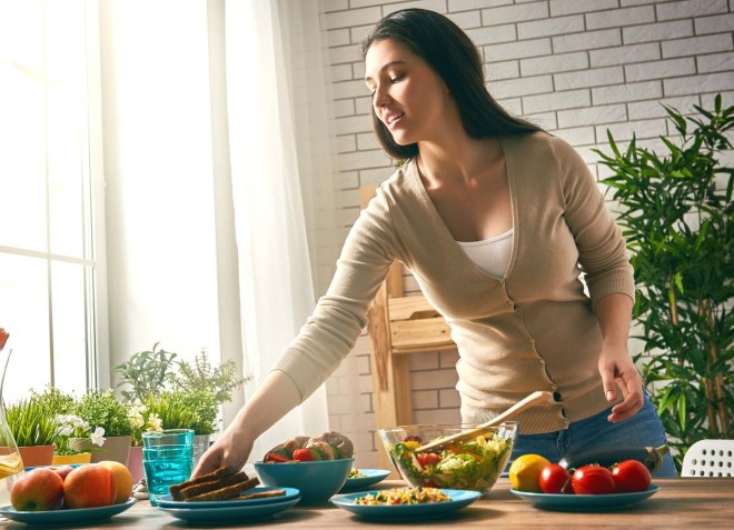woman prepares the dinner